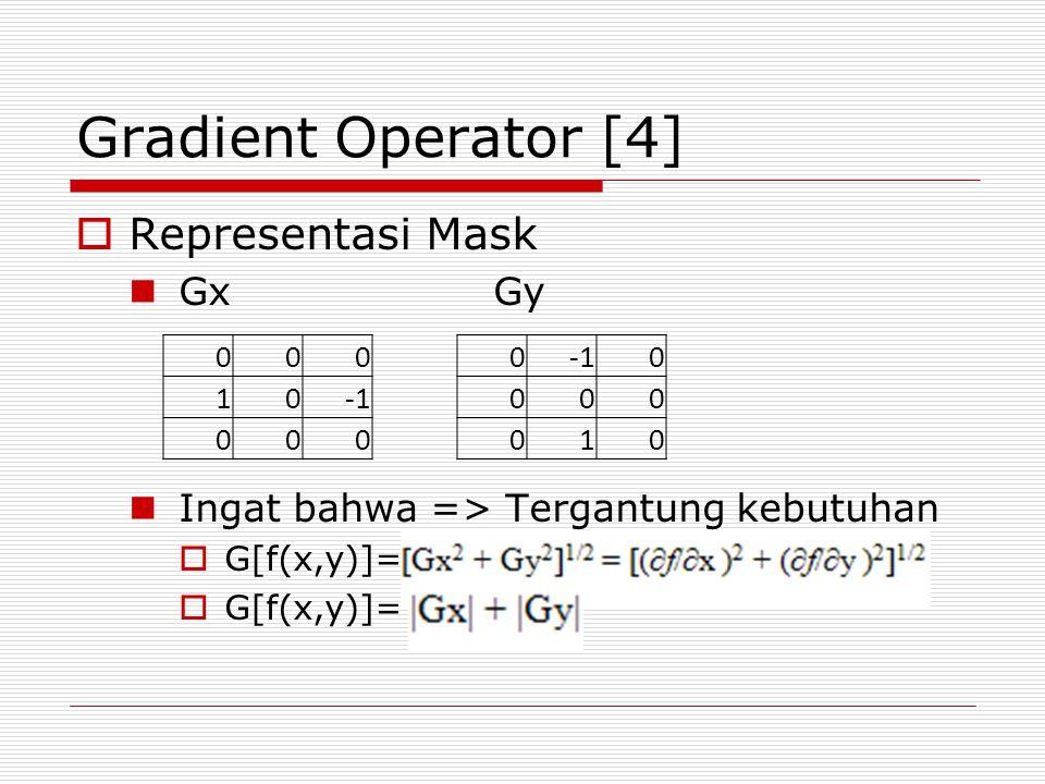 Gradient Operator [4] Representasi Mask Gx Gy